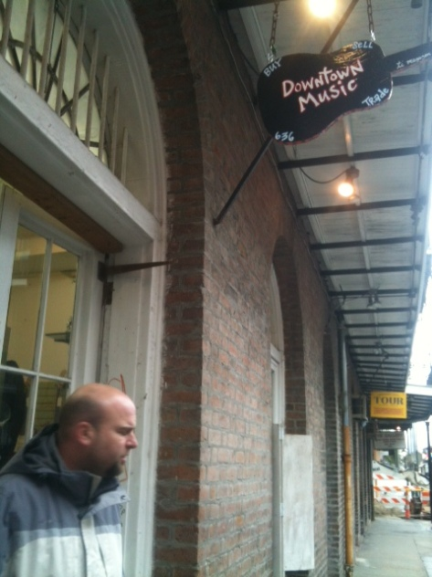 Manager Kevin at Downtown Music - new place in the Quarter on Saint Ann to buy instruments etc and also to sell unused items.