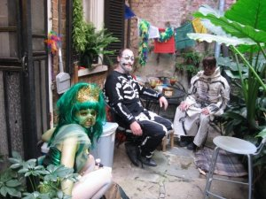Some of my pals visiting me on Fat Tuesday during an earlier French Quarter life of mine..