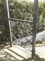 ironwork on the bell structure in the garden